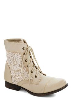 Walk on the Wildflower Side Boot in Cream, #ModClothCream and light tan low heel bootie with lace insert.