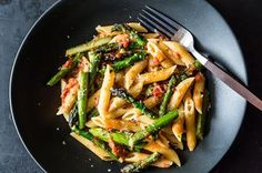"A mashup of all the best pasta sauces -- tomato, asparagus, and carbonara -- with surprisingly harmonious results. Adapted slightly from <strong><a title=""Amazon: The New New York Times Cookbook"" href=""http://www.amazon.com/Craig-Claibornes-York-Times-Cookbook/dp/081290835X/?tag=food52-20"">The New New York Times Cookbook</a></strong> (Crown, 1979)"