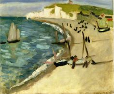 Aht Amont Cliffs at Etretat, 1920 Henri Matisse - by style - Post-Impressionism Henri Matisse, Matisse Kunst, Matisse Art, Matisse Paintings, Picasso Paintings, Matisse Pinturas, Oil Canvas, Kunst Online, Post Impressionism