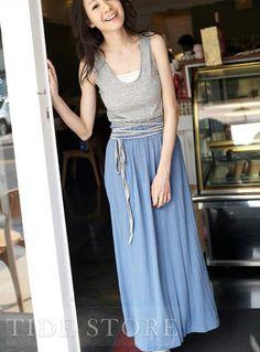 Brilliant Soft Slim Lace-Up Maxi Dress #Tidestore #TidestoreFashion #MaxiDresses