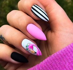 Trendy peach nails with designs almond Ideas Summer Acrylic Nails, Best Acrylic Nails, Nail Summer, Crazy Summer Nails, Dream Nails, Love Nails, Stylish Nails, Trendy Nails, Flamingo Nails