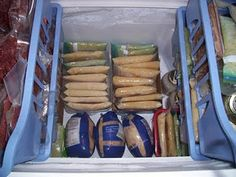 Chest Freezer Organization!  Im inspired!  Got to find those baskets...