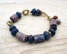 blue African trade bead bracelet, Venetian Millefiori Beads Lapis African Brass Rings, Rustic Ethnic Tribal Jewelry