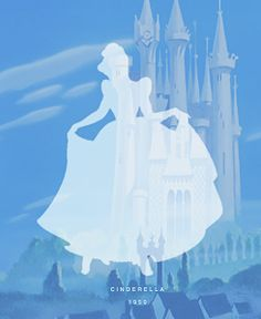 Here I chose this cinderella poster because it uses a simple silhouette of her and with a majestic castle in the back.