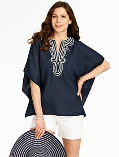 Talbots - Embroidered Linen Poncho | |