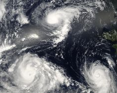 3 ANGRY SISTERS > headed for CHINA >>>>  In August 2006, a NASA satellite captured this image of three angry sisters in the western Pacific Ocean. This trio of storms formed within three days of each other. The youngest storm, Typhoon Bopha (top) is barely organized into a tropical storm, with no eye and only the most basic round shape. Tropical Storm Maria (bottom right) is a day older and has formed a central eye and a spiral shape. The most powerful of the triplets, Typhoon Saomai (bottom…