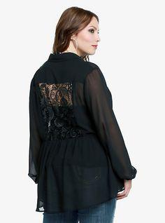 Lace Back Hi-Lo Peplum Shirt | Torrid