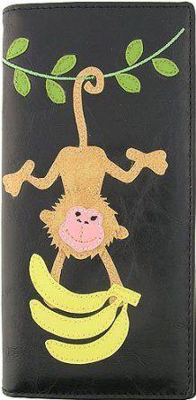 Monkey Hanging w/ Bananas Applique Black Wallet