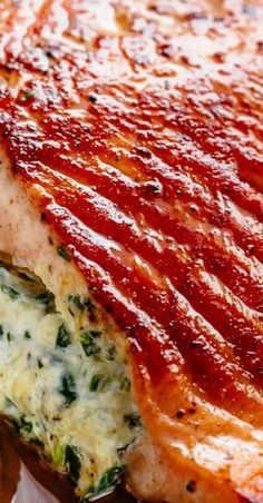 Creamy Stuffed Spinach Salmon Source by farahnene Baked Salmon Recipes, Fish Recipes, Seafood Recipes, Dinner Recipes, Cooking Recipes, Healthy Recipes, Dinner Ideas, Healthy Foods, Fish Dinner