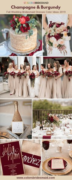 2019 fall wedding bridesmaid dresses color ideas, champagne bridesmaid dresses with wedding cakes, bouquets, invitations and table decorations in champagne and burgundy. Incredible Ideas for Fall Wedding Decorations Fall Wedding Bridesmaids, Champagne Bridesmaid Dresses, Bridesmaid Dress Colors, Wedding Champagne, Burgundy Bridesmaid, Champagne Wedding Decorations, Bridesmaid Dresses For Fall, Wedding Centerpieces, Wedding Cake Table Decorations