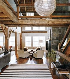 BARN HOMES: Modern Rustic Barn. via Kind Design A barn was moved from Canada to Connecticut, and then converted into this modern rustic barn by architectural studio Groves & Co. Modern Barn, Modern Rustic, Rustic Chic, Rustic Contemporary, Rustic Feel, Rustic Elegance, Contemporary Interior, Modern Country, Scandinavian Interior