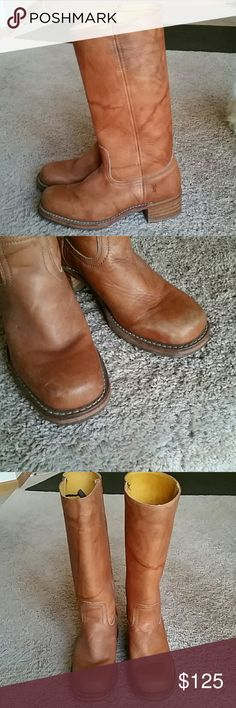 Frye camel brown boot sz 8.5 women's Used but still lots of life left for these gorgeous boots. Frye. Sz 8.5. Women's.  All leather.  Stunning camel brown color. Frye Shoes