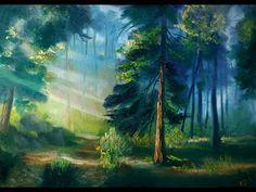 Полный урок живописи маслом Утренний лес - YouTube