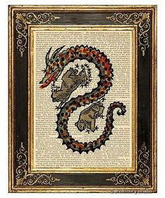 Draco-The-Dragon-1-Art-Print-on-Antique-Book-Page-Vintage-Illust-Constellation