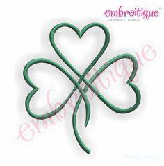shamrock hearts | Shamrock Heart Satin Stitch Outline - Irish St. Patrick's Day