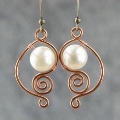 Online Shop White pearl earrings female brass handmade earring fashion unique diy copper wire handmade jewelry|Aliexpress Mobile