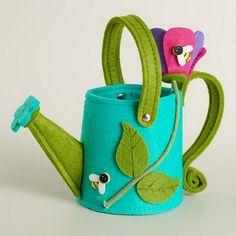 Green Watering Can Felt Easter Basket Felt Crafts, Easter Crafts, Easter Show, Felt Decorations, Felting Tutorials, Felt Patterns, Felt Fabric, Felt Toys, Felt Ornaments