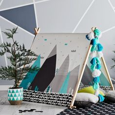 Amazing Tee Pee play area! Black, White, Turquoise, Aqua Modern Mountain decor.