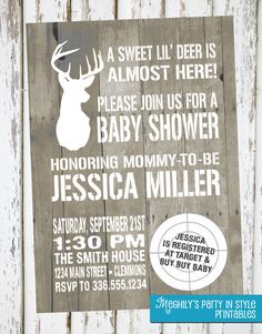 @Tina Doshi Doshi Doshi Wilkinson, when you have babies, I am doing this! Hunting Theme Baby Shower Invitation by Meghilys