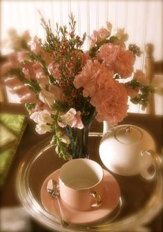 Raindrops and Roses Peach And Green, Sweet Peach, Peach Trees, Peach Blossoms, Raindrops And Roses, Shades Of Peach, I Believe In Pink, Tea Art, Just Peachy