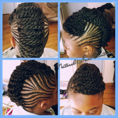 Cornrows and kinky twists in an updo natural hair