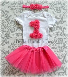 HOT PINK Baby Girl One Year Smash Cake Outfit Tutu Shabby Flower Onesie and Matching Headband Set, Birthday Party Photo Prop, FUCHSIA Skirt by BellaBumbleBee, $24.95