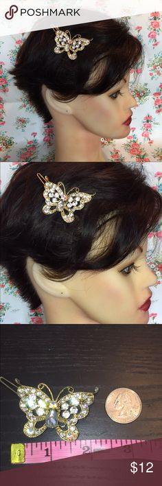 New crystal butterfly hair piece prom wedding Beautiful Butterfly gold with sparkling crystal hair piece. Gorgeous statement piece prefect for any special occasion.  Pictures do not do it justice. Accessories Hair Accessories