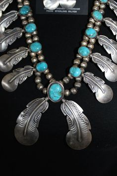 Native AmericanSterling Silver Feather and Turquoise Squash Blossom Necklace