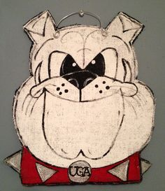 Bulldog Burlap Door Hanger, Hand Painted and can be customized with your team or family name. Burlap Door Hangings, Burlap Art, Painting Burlap, Burlap Signs, Burlap Crafts, Fall Crafts, Arts And Crafts, Burlap Projects, Diy Wreath
