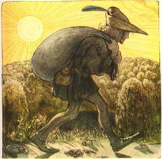 Afbeelding uit 'Bland tomtar och troll' (Onder elfen en trollen). Dit was een jaarlijkse uitgave van een sprookjesboek, dat rond Kerstmis verscheen. Bauer illustreerde de sprookjes tussen 1907-1915.