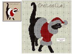 Cat Cross Stitches, Cross Stitching, Cross Stitch Embroidery, Cross Stitch Patterns, Xmas Cross Stitch, Thread Art, Theme Noel, Cat Decor, Cross Stitch Animals