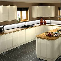 Kitchen-compare.com - Compare Retailers - Cream Gloss Handleless - Wickes Sofia Creme