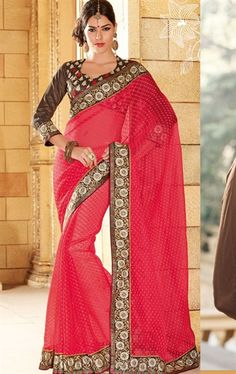 Picture of Premium Red Color Indian Party Wear Sarees Online