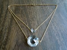 Duo Gold Crystal Necklace by casualglitz on Etsy, $25.00