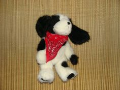 "Boyd's Bears Collections Plush Stuffed Black White Puppy Dog 10"" Beanbag"