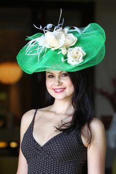 #green/white #fascinator @Hat and Fashion.com