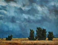 Love these paintings. Large Landscape Oil Painting of Denver Thunderstorm by sharonschock.