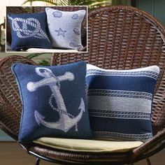 Im working on re-doing my bedroom to a cozy, bright Nautical Themed nook. These Throw Pillows are sold out and im trying to figure out how to re-create them!