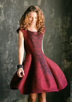 """Купить Платье """"Катрин"""" - бордовый, цветочный, Платье нарядное, платье коктейльное, платье валяное"""