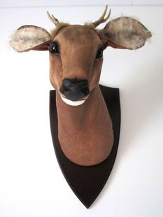 Hand sculpted deer - textile trophy