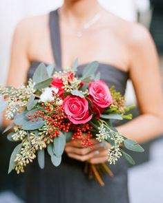 Wedding Ideas: pink-berry-flowering-bridesmaid-bouquet