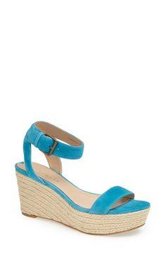 Via Spiga 'Larissa' Ankle Strap Wedge Espadrille Sandal suede caribbean blue 3.5h (97.49) 6/16 NA