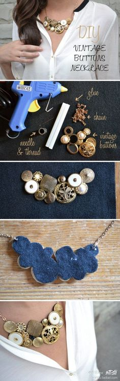18 Ideas for DIY Fashion Crafts DIY Vintage Button Necklace — tried and fell in love! Diy Buttons, Vintage Buttons, Buttons Ideas, Vintage Rhinestone, Diy Vintage, Vintage Jewelry, Vintage Crafts, Vintage Necklaces, Antique Necklace
