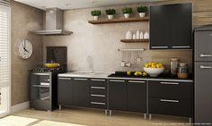 Cozinha Modulada Completa com Balcão para Pia, Balcão 2 Portas, Balcão 2 Gavetas, Armário Aéreo 2 Portas e Prateleiras Branco/Preto Laca - Caaza