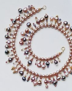 downloadable pattern: pearl necklace with dangles (can also use crystals /or semi-precious beads for dangles)