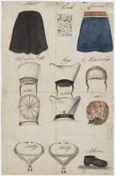 Onderdelen streekdracht Marken, vrouw, 1800-1900 #NoordHolland #Marken