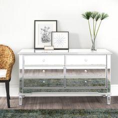 6 Drawer Dresser, Dresser With Mirror, Wall Mirror, Mirrored Nightstand, Mirrored Furniture, Furniture Sale, Furniture Update, Glass Furniture, Wingback Headboard