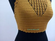 Crochet crop top Tube Top boho top summer top mustard etsy Crochet Summer Tops, Crochet Crop Top, Hand Crochet, Hippie Tops, Boho Tops, Bustier Top, Hippie Outfits, Festival Outfits, Mustard