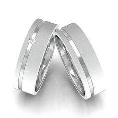 alianca de comprimisso prata com pedra brilhante