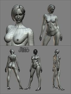 Full, medium to high-poly female model. Big image. Some N-Gons visible. (artist: Jinho Jang)
